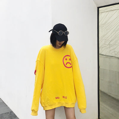 "SENCE LA 17/FW ""Sad Face"" Graffiti Crewneck Women"
