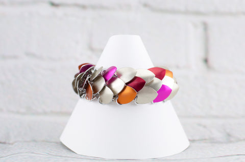 Scale Maille Medium Cuff Bracelet - Tan, Red, Orange, Pink (Scatter)