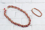 Jens Pind Linkage Chain Maille Necklace & Bracelet Set - Red, Golden and Tan