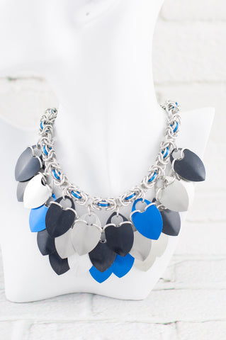 Scale and Chain Maille Bib Necklace - Black and Blue
