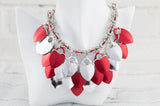 Scale and Chain Maille Bib Necklace - Red and Silver
