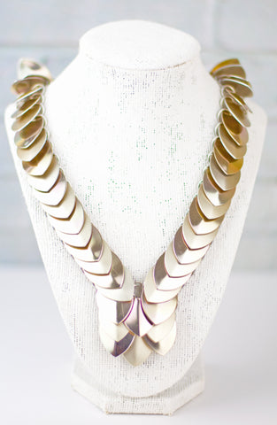Scale Strip Necklace - Pale Gold