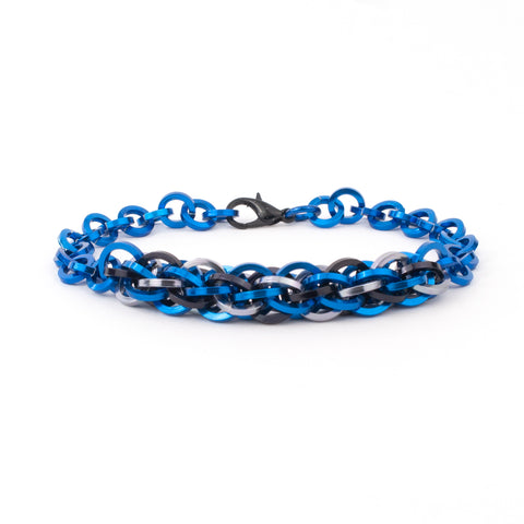 Jens Pind Linkage Centrepiece Bracelet in Square Wire - Royal Blue
