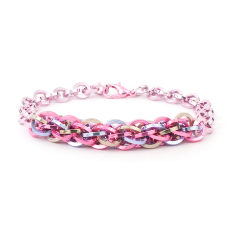 Jens Pind Linkage Centrepiece Bracelet in Square Wire - Pink