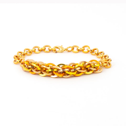 Jens Pind Linkage Centrepiece Bracelet in Square Wire - Golden