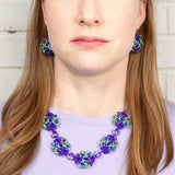 Swirling Roses Collection: Necklace - Purple, Sky and Mint