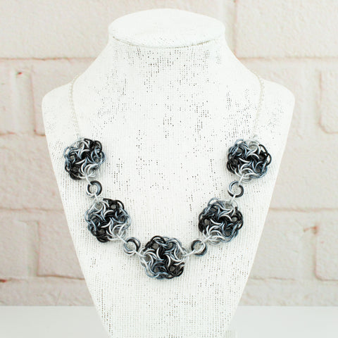 Swirling Roses Collection: Necklace - Black, White and Grey