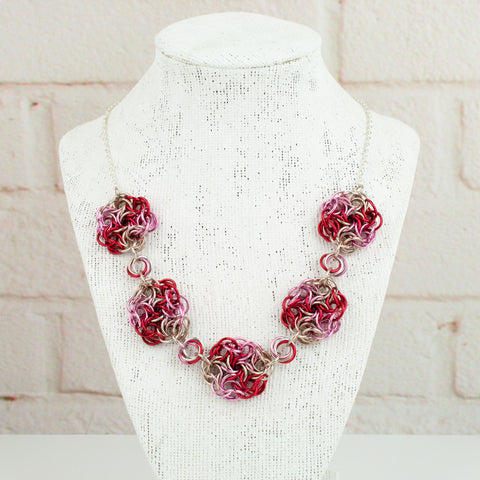Swirling Roses Collection: Necklace - Red, Pink and Champagne