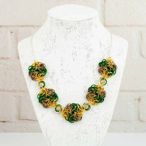 Swirling Roses Collection: Necklace - Gold, Green and Bronze