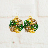 Swirling Roses Collection: Earrings - Gold, Green and Bronze