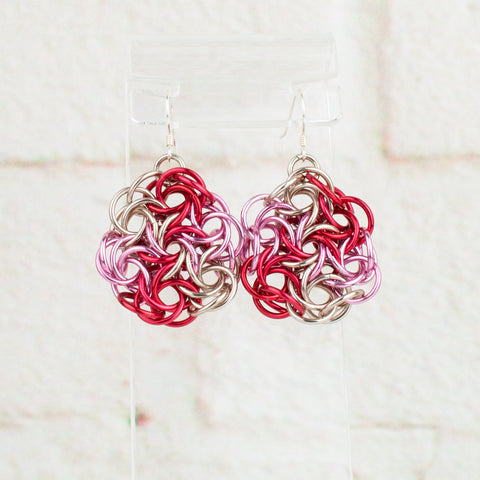 Swirling Roses Collection: Earrings - Red, Pink and Champagne