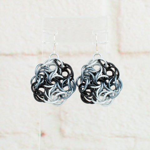 Swirling Roses Collection: Earrings - Black, White and Grey