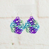 Swirling Roses Collection: Earrings - Purple, Sky and Mint
