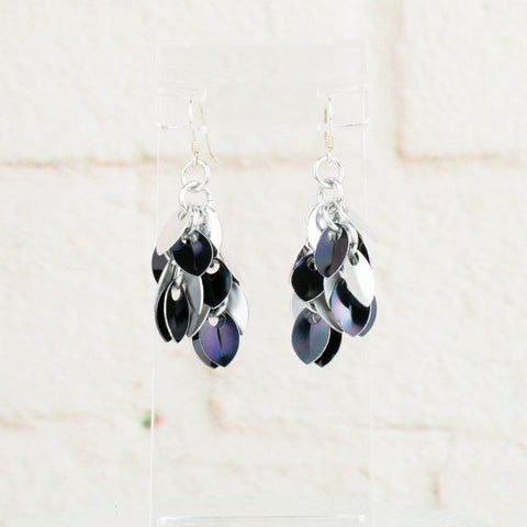 Shaggy Scales Collection: Earrings - Silver and Black