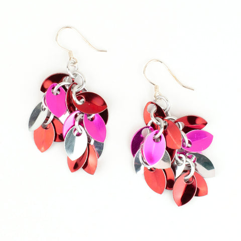 Shaggy Scales Collection: Earrings - Red, Pink and Silver