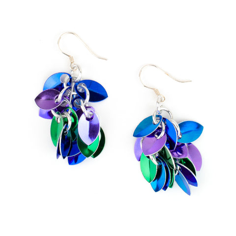 Shaggy Scales Collection: Earrings - Blue, Green and Purple