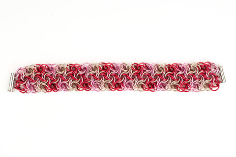Swirling Roses Collection: Bracelet - Red, Pink and Champagne