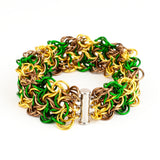 Swirling Roses Collection: Bracelet - Gold, Green and Bronze