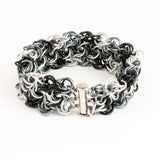 Swirling Roses Collection: Bracelet - Black, White and Grey