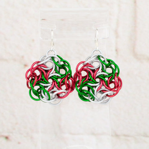 Swirling Roses Collection: Earrings - Red, Green and White Christmas