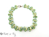 Barrel Weave Chain Maille Bracelet - Green & Yellow