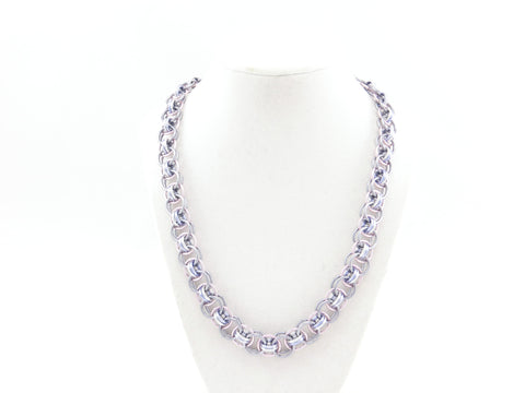 Helm Chain Maille Necklace - Pink and purple