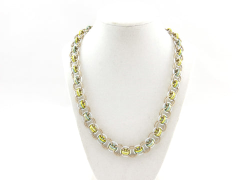 Helm Chain Maille Necklace - Yellow, Green and Tan