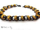 Barrel Weave Chain Maille Bracelet - Orange & Black