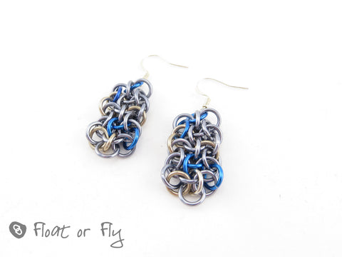 Making Waves Collection: Vipera Berus Chain Maille Earrings - Stormy Seas