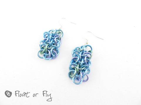 Making Waves Collection: Vipera Berus Chain Maille Earrings - Shallow Waters