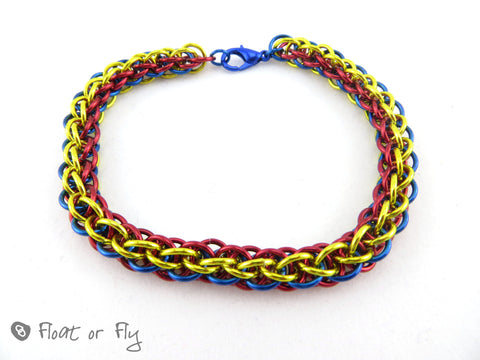 Jens Pind Linkage Chain Maille Bracelet - Blue, Red & Yellow