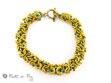 Turkish Round Thick Chain Maille Bracelet - Golden, Green and Orange