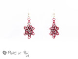 Japanese Star Chain Maille Earrings - Red & Frost