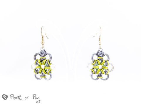 Japanese Flower Chain Maille Earrings - Grey & Yellow