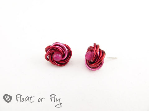 Mobius Stud Earrings - Red