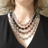 Mobius Chain Maille Multi-Strand Necklace - Black and Silver