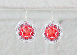 Swarovski Crystal Captured Drop Earrings - Red Crystal