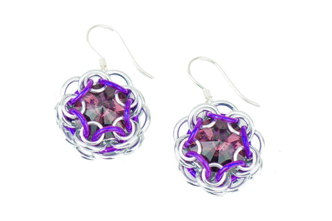Swarovski Crystal Captured Drop Earrings - Purple Crystal