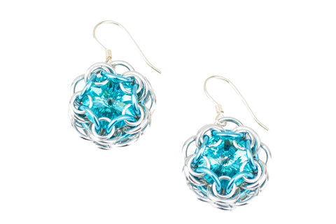 Swarovski Crystal Captured Drop Earrings - Turquoise Crystal
