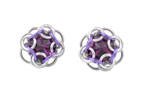 Swarovski Crystal Captured Stud Earrings - Purple Crystal