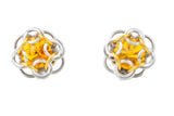 Swarovski Crystal Captured Stud Earrings - Golden Yellow Crystal