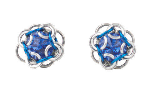 Swarovski Crystal Captured Stud Earrings - Sapphire Blue Crystal