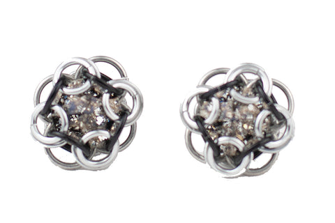 Swarovski Crystal Captured Stud Earrings - Speckled Black Crystal
