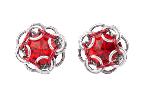 Swarovski Crystal Captured Stud Earrings - Red Crystal