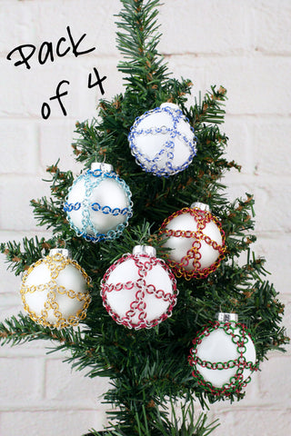Chainmaille Wrapped Ball Ornament - Pack of 4