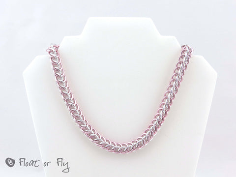Sunrise Collection: Half Persian Chain Maille Necklace - Pink and Silver