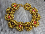 Romanov Beaded Chain Maille Bracelet - Golden with orange and bronze
