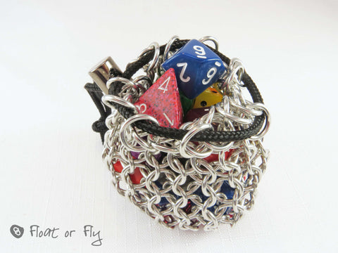 Chain Maille Pouch / Dice Bag - Mini (holds 15 dice) Red Base