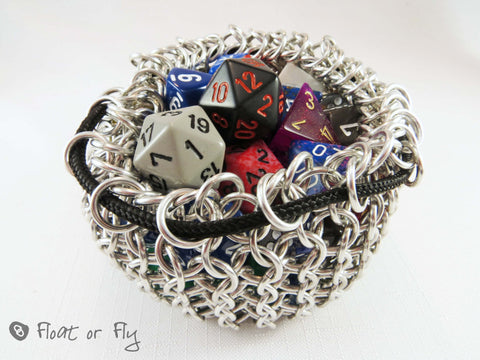Chain Maille Pouch / Dice Bag - Mega (holds 50 dice) Black Base