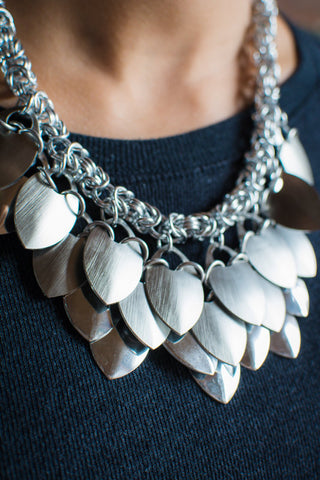 Scale and Chain Maille Bib Necklace and Earring Set - Silver colour
